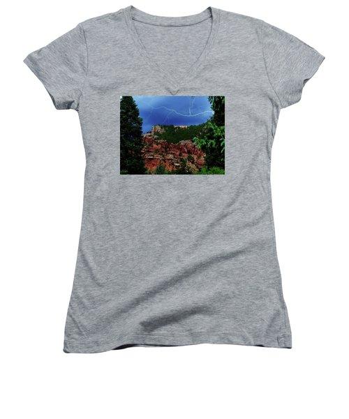 Women's V-Neck T-Shirt (Junior Cut) featuring the digital art Garden Of The Gods by Chris Flees