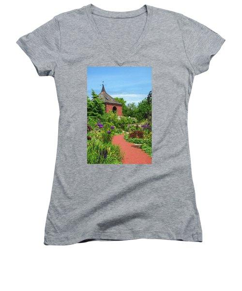 Garden Path Women's V-Neck T-Shirt (Junior Cut) by Trey Foerster