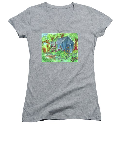 Women's V-Neck T-Shirt (Junior Cut) featuring the painting Garden Potting Shed by Cathie Richardson