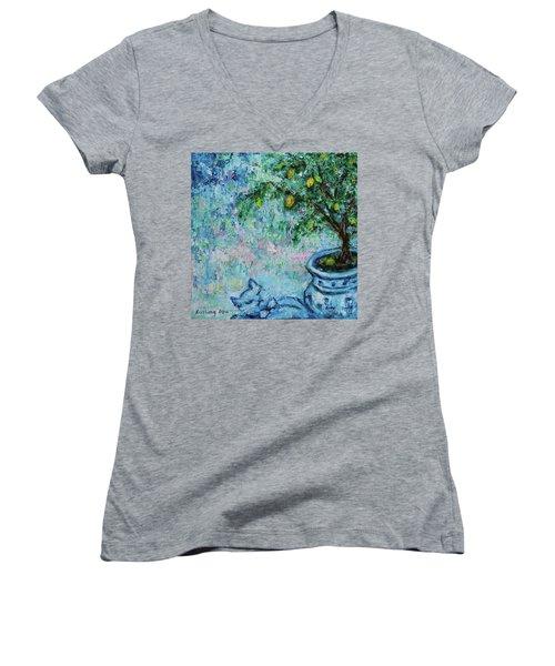Women's V-Neck T-Shirt featuring the painting Garden Sleeping Cat by Xueling Zou