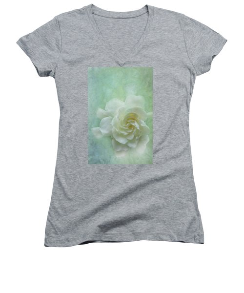 Gardenia Women's V-Neck T-Shirt (Junior Cut) by Catherine Alfidi