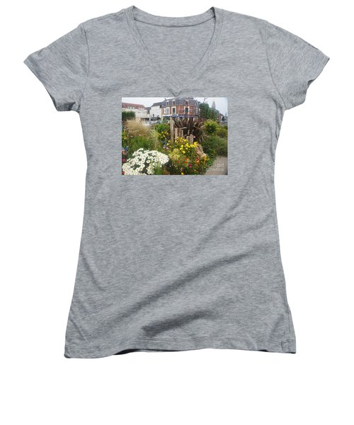 Women's V-Neck T-Shirt (Junior Cut) featuring the photograph Gardens At Albert Train Station In France by Therese Alcorn