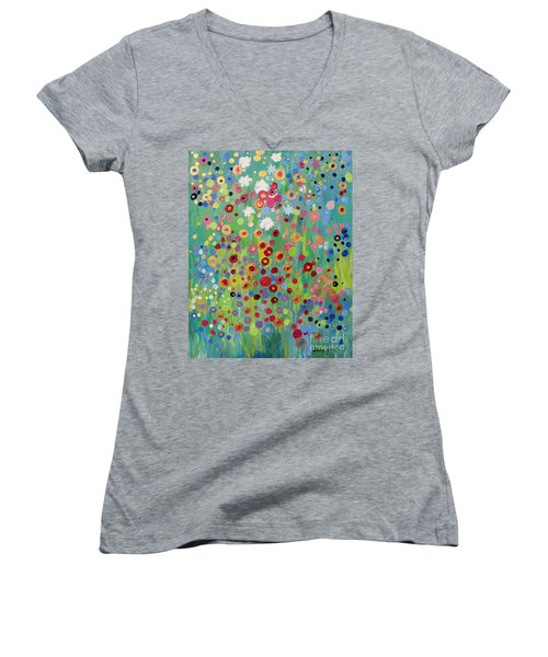 Women's V-Neck T-Shirt (Junior Cut) featuring the painting Garden's Dance by Stacey Zimmerman
