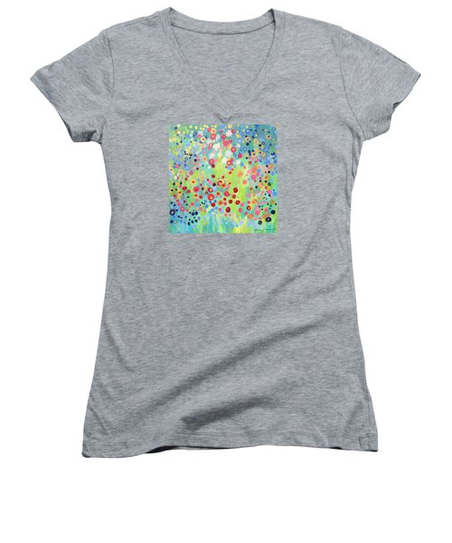 Women's V-Neck T-Shirt (Junior Cut) featuring the painting Garden's Delight by Stacey Zimmerman