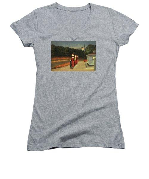 Gas  Women's V-Neck T-Shirt (Junior Cut) by Edward Hopper