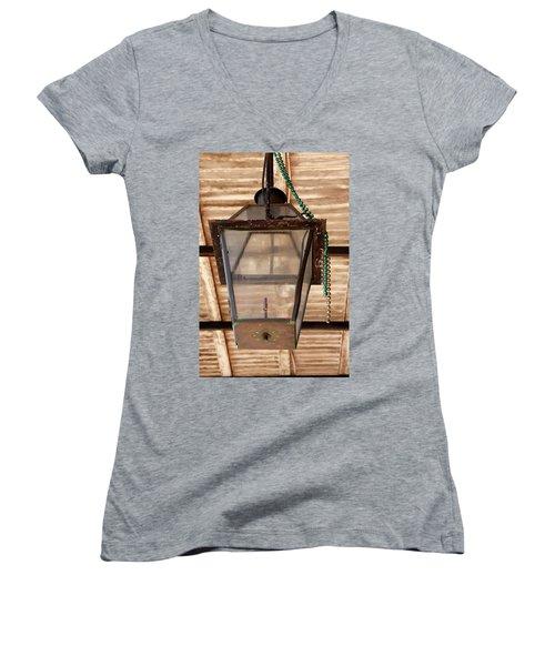 Women's V-Neck T-Shirt (Junior Cut) featuring the photograph Gas Lamp French Quarter by KG Thienemann