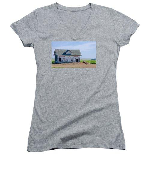 Women's V-Neck T-Shirt (Junior Cut) featuring the photograph Gas by Susan Crossman Buscho