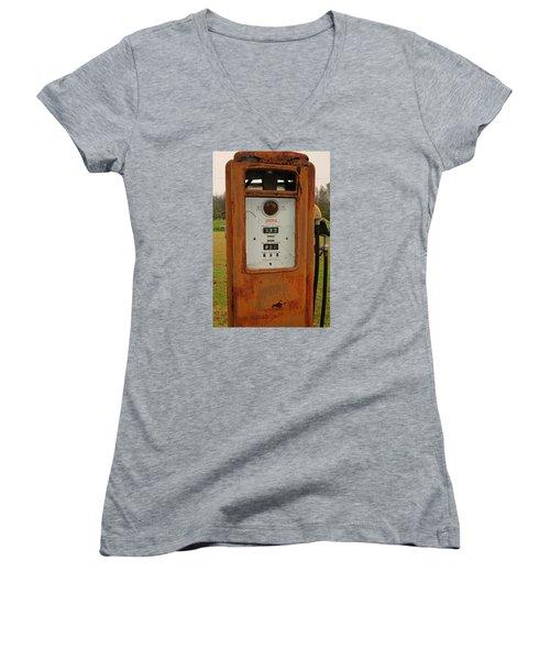 Gasoline Pump Women's V-Neck T-Shirt (Junior Cut) by Ronald Olivier