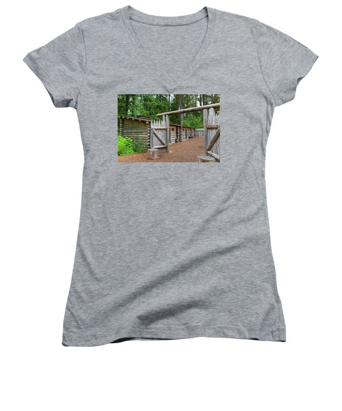 Gate To Log Camp At Fort Clatsop Women's V-Neck (Athletic Fit)