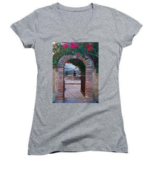 Gate To The Sacred Garden And Bell Wall Mission San Juan Capistrano California Women's V-Neck T-Shirt (Junior Cut) by Karon Melillo DeVega