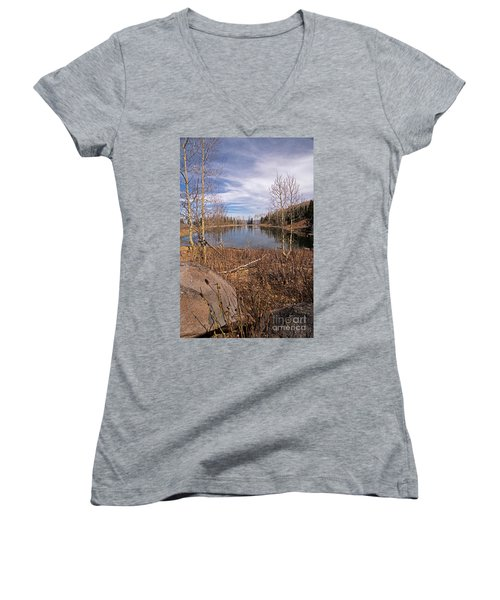 Gates Lake Ut Women's V-Neck T-Shirt (Junior Cut) by Cindy Murphy - NightVisions