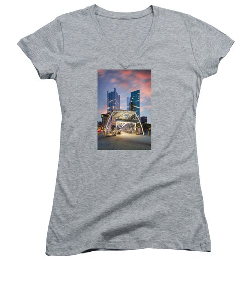 Gateway Station At Pittsburgh  Women's V-Neck T-Shirt (Junior Cut) by Emmanuel Panagiotakis