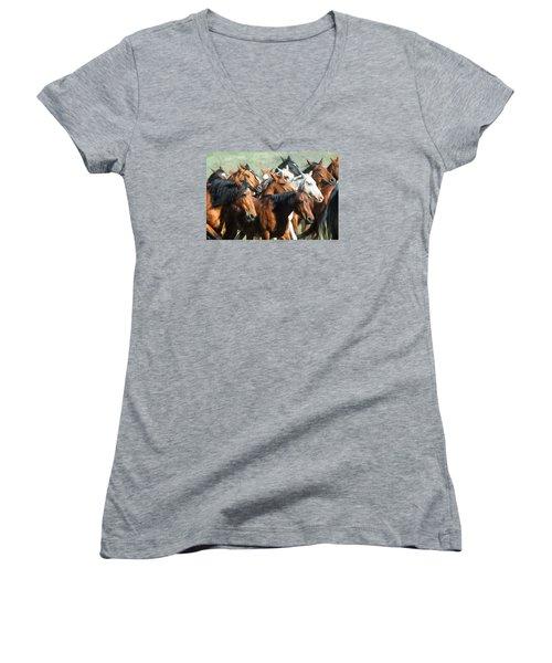 Gathering The Herd Women's V-Neck T-Shirt