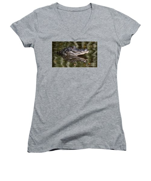 Women's V-Neck T-Shirt (Junior Cut) featuring the photograph Gator With Dragonfly by Myrna Bradshaw