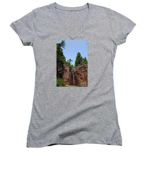 Women's V-Neck T-Shirt (Junior Cut) featuring the photograph Gauthier Falls In Late August by Sandra Updyke