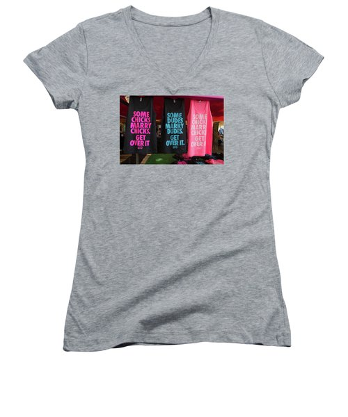 Women's V-Neck T-Shirt (Junior Cut) featuring the photograph Gay Pride Amsterdam by Hans Engbers