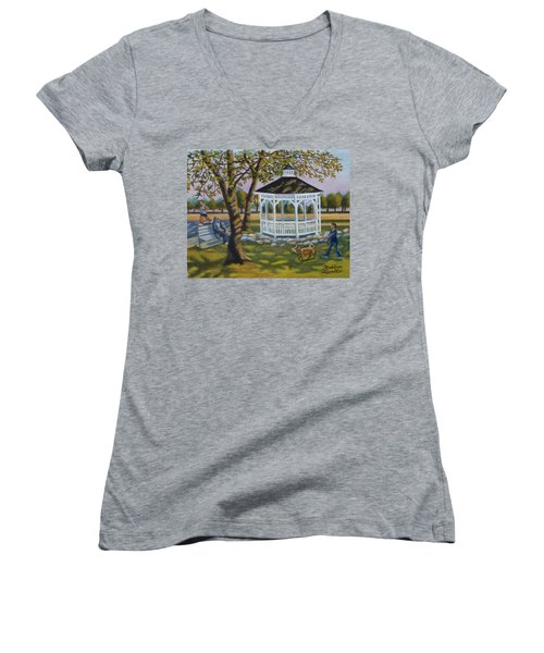 Gazebo In Fireman's Park  Women's V-Neck (Athletic Fit)