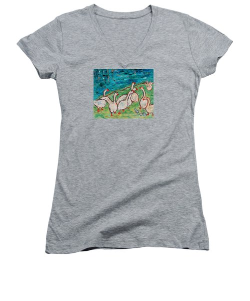 Women's V-Neck T-Shirt featuring the painting Geese By The Pond by Xueling Zou
