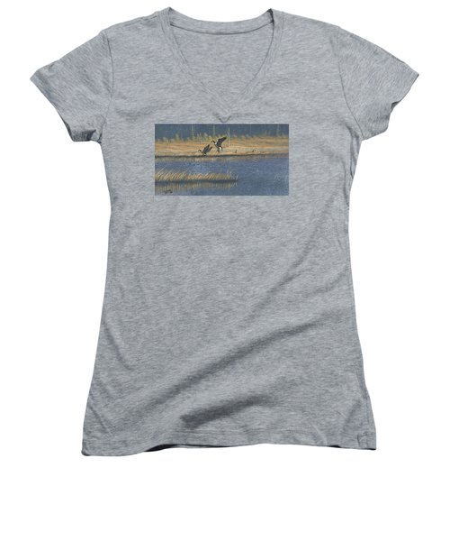 Women's V-Neck T-Shirt (Junior Cut) featuring the painting Geese by Richard Faulkner