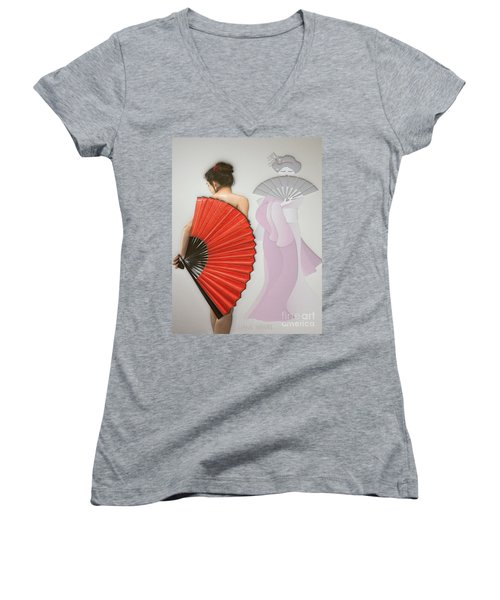 Geisha Women's V-Neck T-Shirt (Junior Cut) by Liane Wright