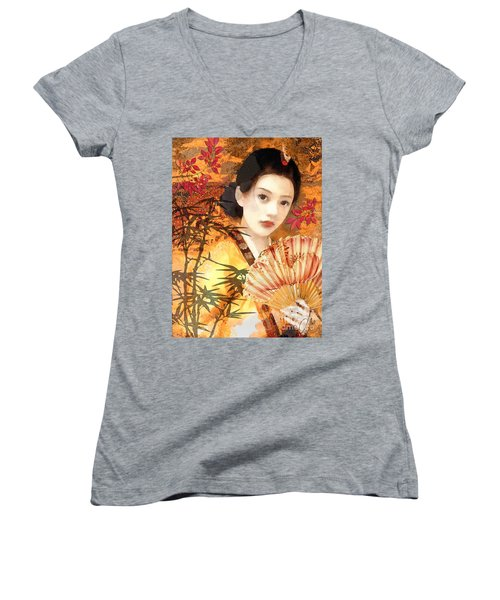 Geisha With Fan Women's V-Neck T-Shirt (Junior Cut) by Mo T