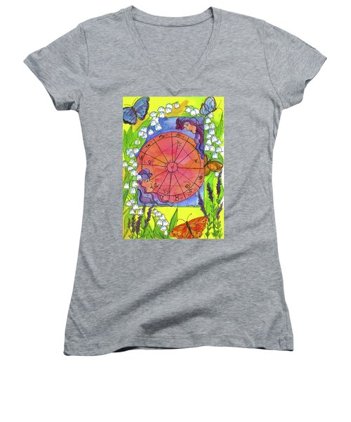 Women's V-Neck T-Shirt (Junior Cut) featuring the painting Gemini by Cathie Richardson