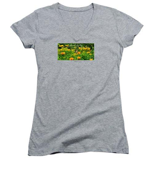 Women's V-Neck T-Shirt (Junior Cut) featuring the photograph Gen Er Os I Ty  by Diane E Berry