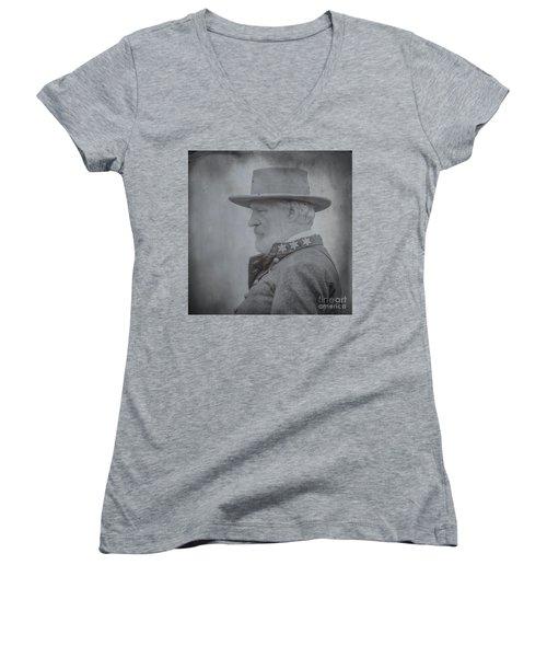 General Robert E Lee Portrait  Women's V-Neck T-Shirt (Junior Cut) by Randy Steele