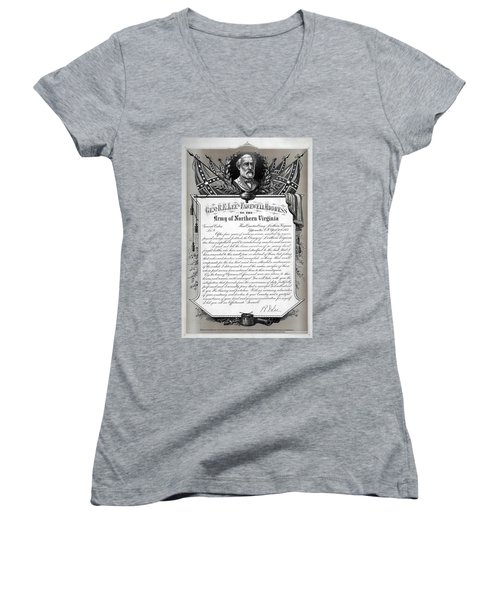 Women's V-Neck T-Shirt (Junior Cut) featuring the mixed media General Robert E. Lee's Farewell Address To Confederate Soldiers by Daniel Hagerman