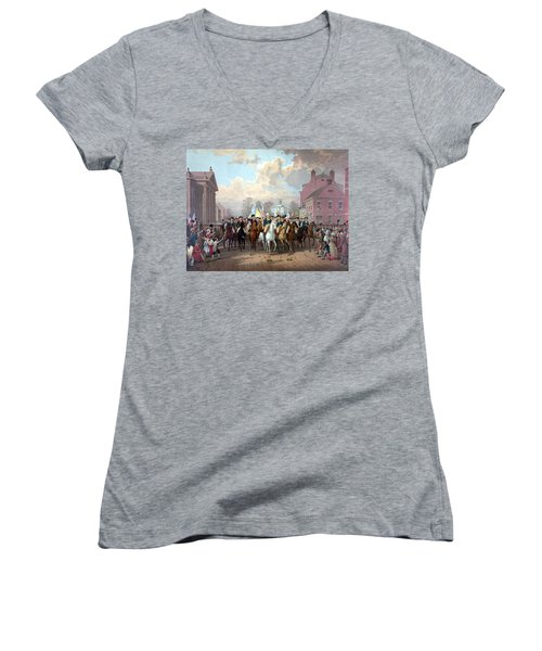General Washington Enters New York Women's V-Neck T-Shirt (Junior Cut)