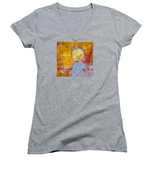 Women's V-Neck T-Shirt (Junior Cut) featuring the painting Genesis by Evelina Popilian