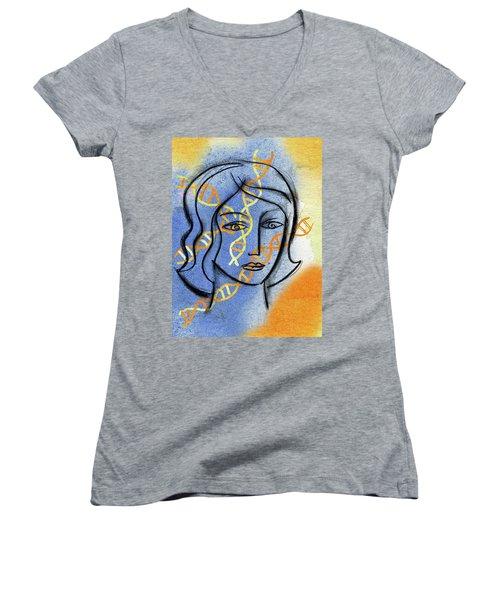 Women's V-Neck T-Shirt (Junior Cut) featuring the painting Genetics by Leon Zernitsky