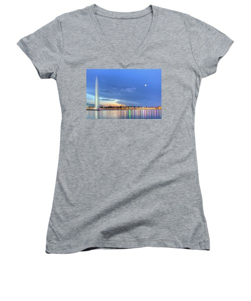 Geneva Lake With Famous Fountain, Switzerland, Hdr Women's V-Neck T-Shirt