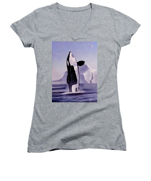 Women's V-Neck T-Shirt (Junior Cut) featuring the painting Gentle Giant by Dan Wagner
