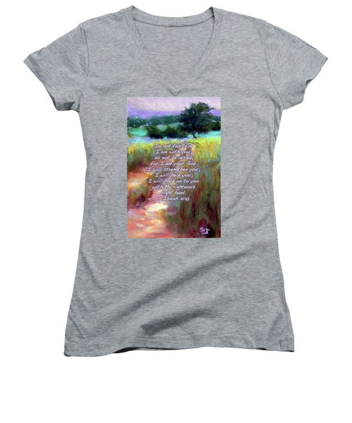 Gentle Journey With Bible Verse Women's V-Neck (Athletic Fit)