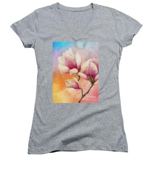 Women's V-Neck T-Shirt (Junior Cut) featuring the digital art Gentleness by Klara Acel