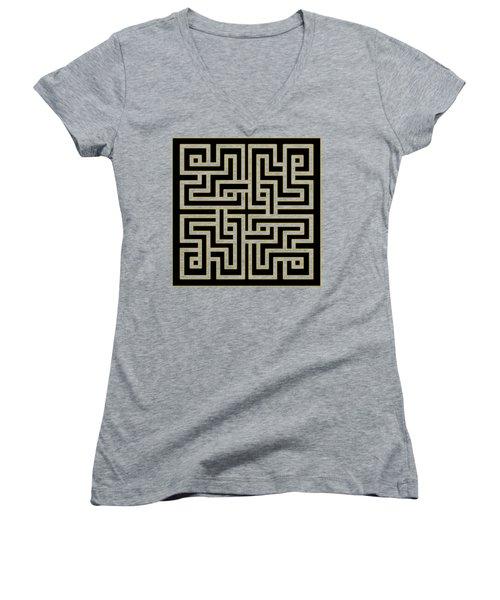 Geo Pattern 5 - Transparent Women's V-Neck T-Shirt (Junior Cut) by Chuck Staley