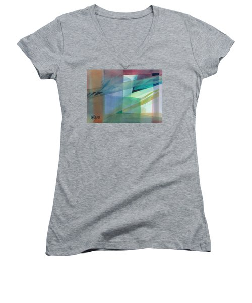 Women's V-Neck featuring the painting Geometric Dimensions by Carolyn Utigard Thomas