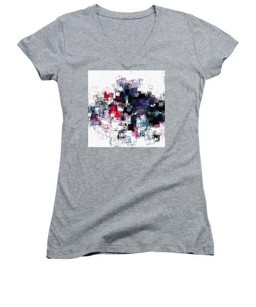 Geometric Skyline / Cityscape Abstract Art Women's V-Neck T-Shirt (Junior Cut) by Ayse Deniz
