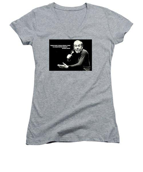 George Carlin Art  Women's V-Neck T-Shirt (Junior Cut) by Pd