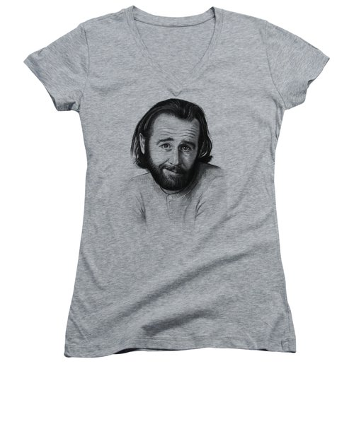 George Carlin Portrait Women's V-Neck T-Shirt (Junior Cut) by Olga Shvartsur