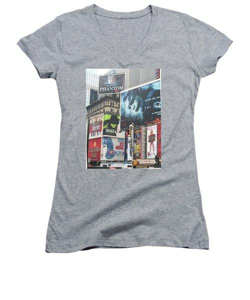 George M Women's V-Neck T-Shirt (Junior Cut) by David Jaffa