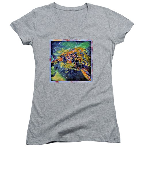 Women's V-Neck T-Shirt (Junior Cut) featuring the painting George The Turtle by Erika Swartzkopf
