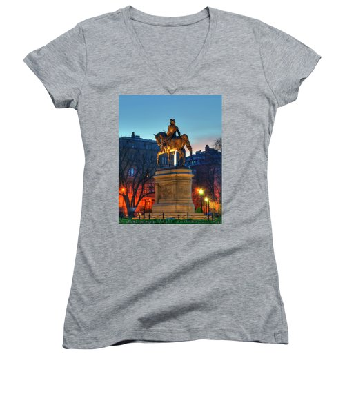 Women's V-Neck T-Shirt (Junior Cut) featuring the photograph George Washington Statue In Boston Public Garden by Joann Vitali