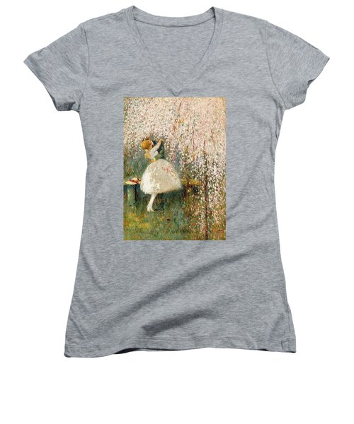 Georges Picard French 1857 1946 Romance Under The Blossom Tree Women's V-Neck