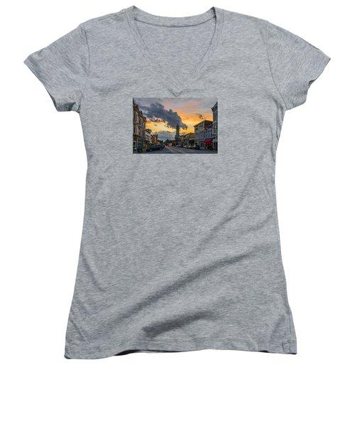 Georgetown Ky Summer Evening Women's V-Neck T-Shirt (Junior Cut) by Ulrich Burkhalter