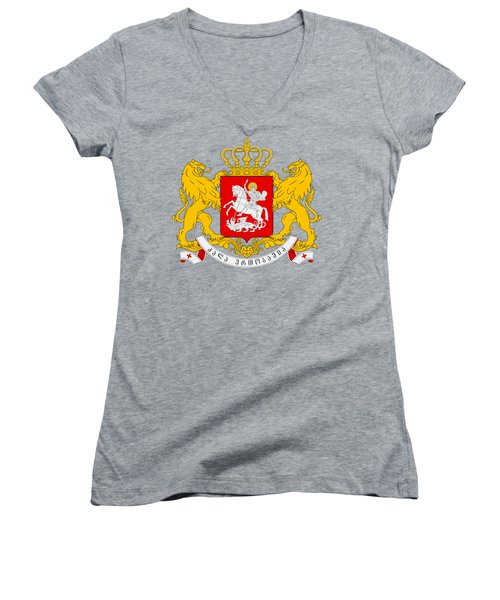 Women's V-Neck T-Shirt (Junior Cut) featuring the drawing Georgia Coat Of Arms by Movie Poster Prints