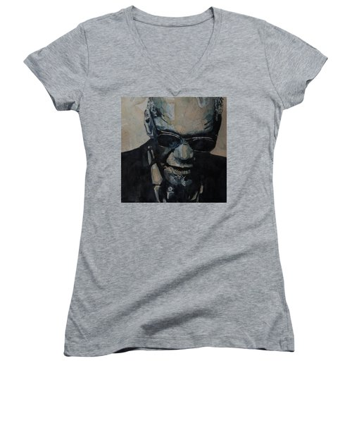 Women's V-Neck T-Shirt (Junior Cut) featuring the painting Georgia On My Mind - Ray Charles  by Paul Lovering