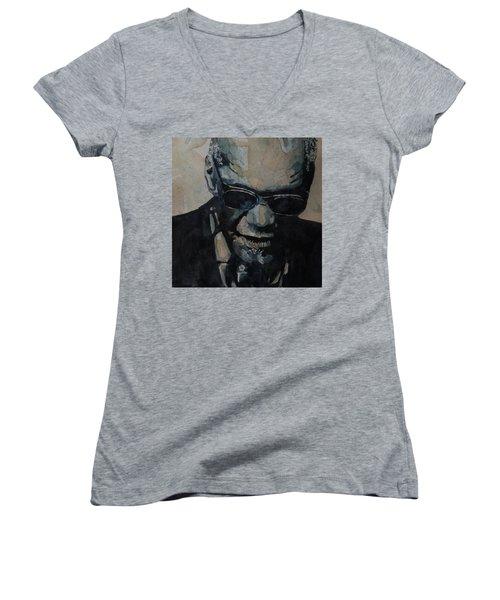 Georgia On My Mind - Ray Charles  Women's V-Neck T-Shirt