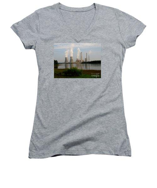 Georgia Power Plant Women's V-Neck T-Shirt (Junior Cut) by Donna Brown